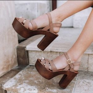 Shoes - Strappy Platform Heels - Blush